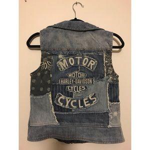 Harley Davidson denim distressed vest